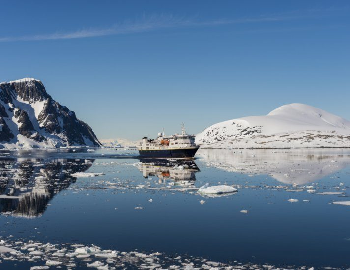 Antarctic landscape with ship