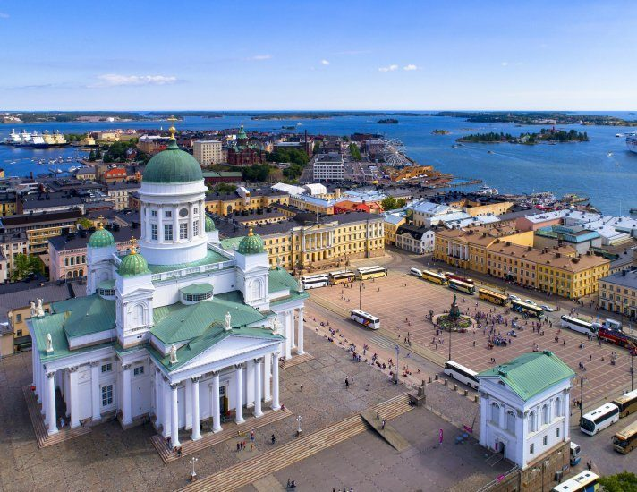 Helsinki cityscape with Lutheran cathedral at Senate square Aerial