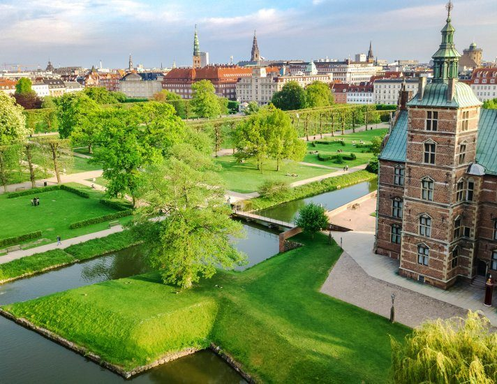 Aerial drone view of Rosenborg Slot Castle and beautiful garden from above, Kongens Have park in Copenhagen, Denmark