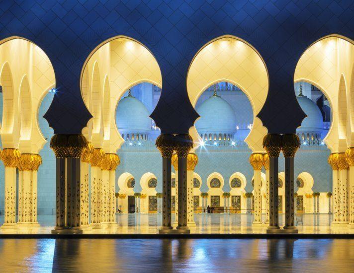 Panoramic mosque at night