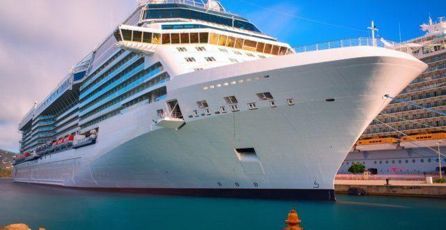 Luxury cruise ship docked in the port of Saint Thomas