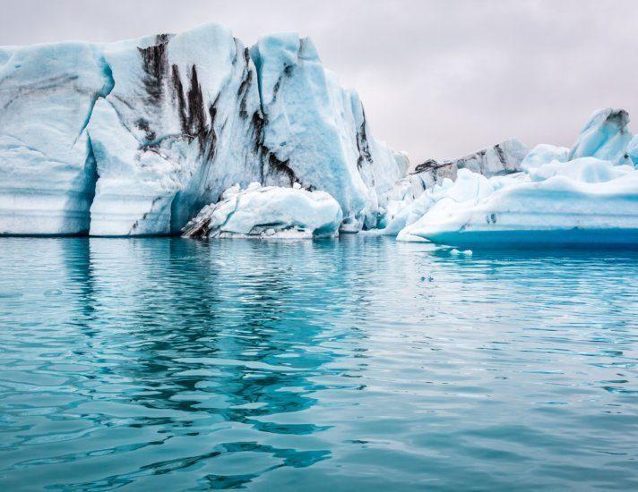 Blue icebergs floating on the lake, Iceland